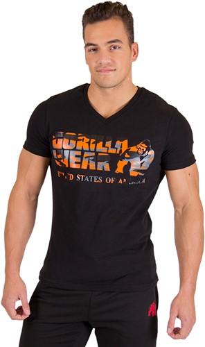 Sacramento V-Hals T-Shirt - Zwart/Neon Oranje
