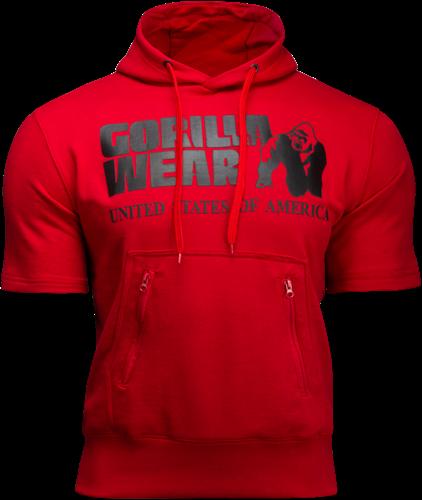 Boston Korte mouwen Hoodie - Rood (met zwart logo)
