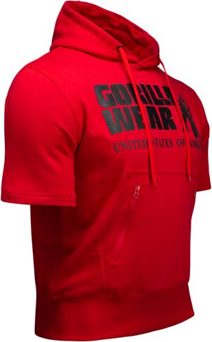 Boston Korte mouwen Hoodie - Rood (met zwart logo) -3