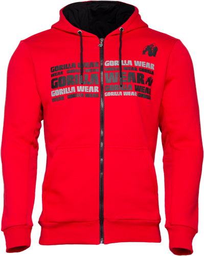 Bowie Mesh Zipped Hoodie - Red