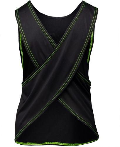 Odessa Cross Back Tank Top - Black/Neon Lime-2