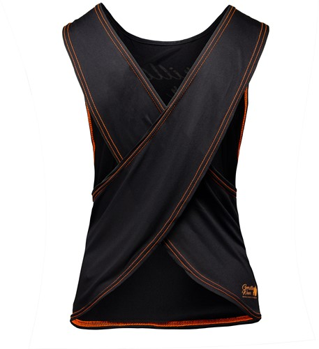 Odessa Cross Back Tank Top - Black/Neon Orange-2