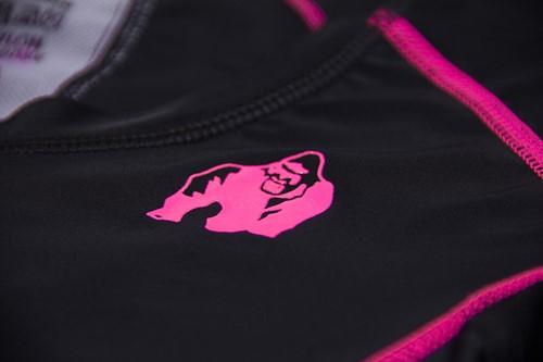 Carlin Compression Short Sleeve Top - Black/Pink - Detail