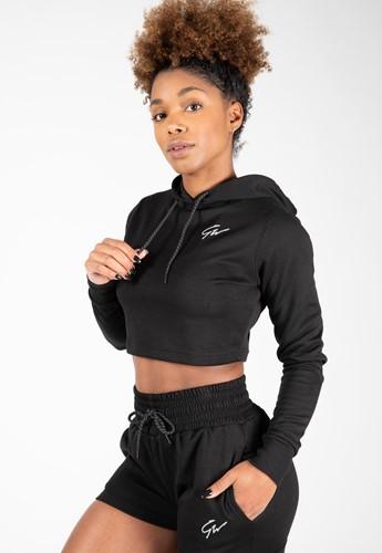 Pixley Crop Top Hoodie - Black
