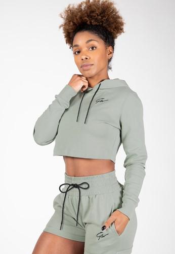 Pixley Crop Top Hoodie - Light Green