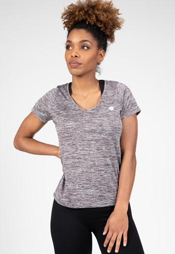 Elmira V-Hals T-Shirt - Grijs Gemeleerd
