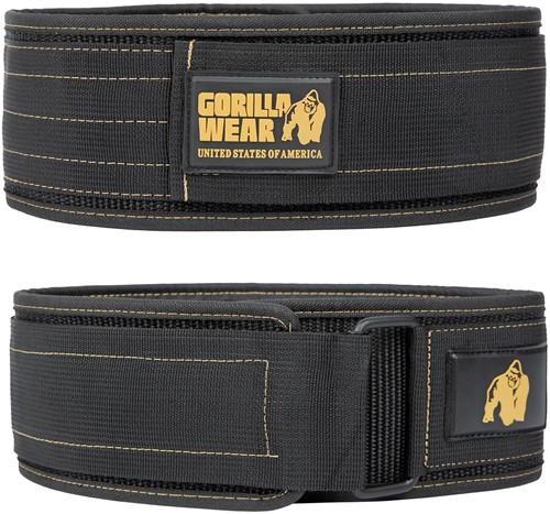 Gorilla Wear 4 Inch Nylon Lifting Belt - Zwart/Goud