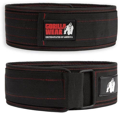Gorilla Wear 4 Inch Nylon Lifting Belt - Zwart/Rode Stiksels