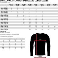 Lander Rashguard Longsleeve - Maattabel