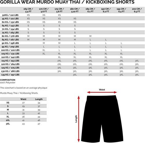 Murdo Muay Thai/Kickboxing shorts maattabel