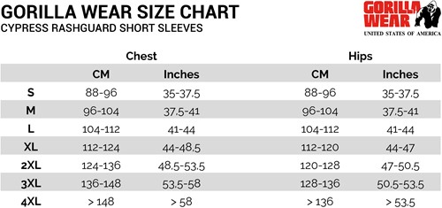 cypress rashguard shortsleeves sizechart maattabel