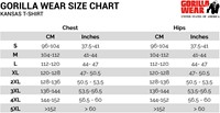 kansas t-shirt sizechart maattabel
