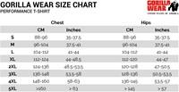 performance t-shirt sizechart maattabel