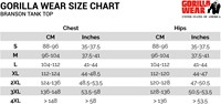 branson tank top sizecharts maattabel