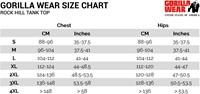 rock hill tank top sizecharts maattabel