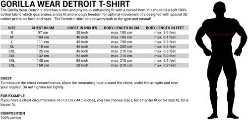 Detroit T-shirt - Maattabel