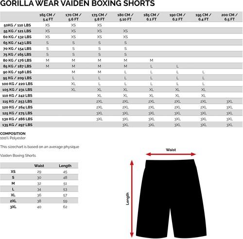 Vaiden Boxing shorts - maattabel