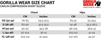 Carlin Compression Short Sleeve Top Sizechart