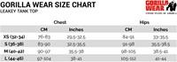 Leakey Tank Top Sizechart