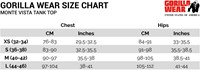 Monte Vista tank top sizechart