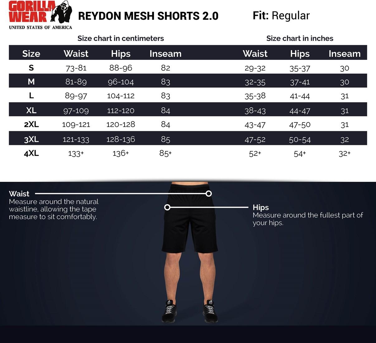 Bodybuilding und Fitness Short f/ür Herren GORILLA WEAR Reydon Mesh Shorts
