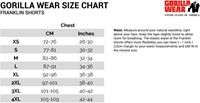 Franklin Shorts size chart maattabel