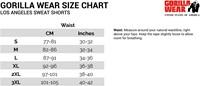 los angeles sweat shorts sizecharts maattabel